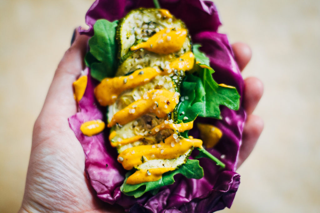 Purple Cabbage Tacos w/ Tangy Chipotle Aioli | Well and Full | #vegan #plantbased #recipe