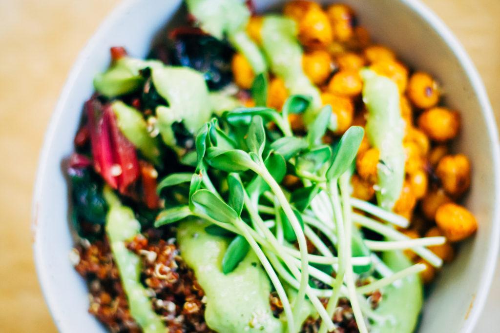 Quinoa Nourish Bowl w/ The Best Avocado Dressing | Well and Full | #vegan #plantbased #recipe