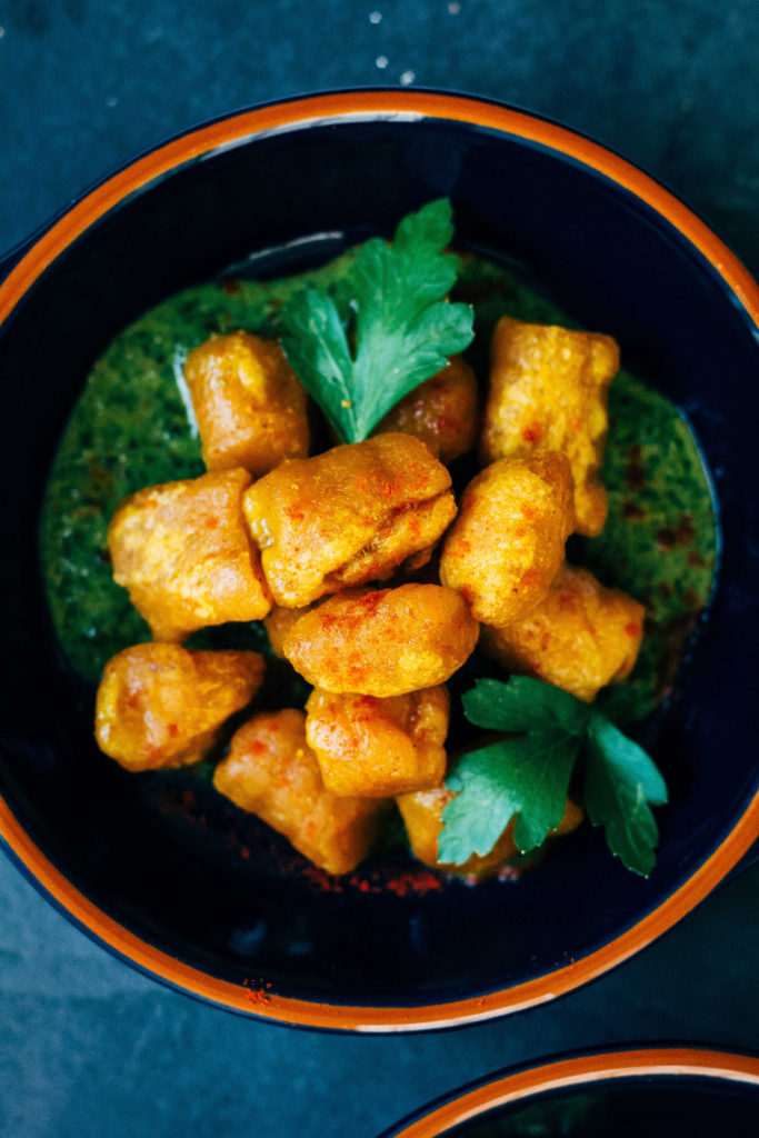 Harissa-Spiced Pumpkin Gnocchi w/ Parsley and Mint PestoHarissa-Spiced Pumpkin Gnocchi w/ Parsley and Mint Pesto | Well and Full