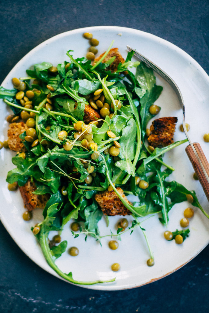 Lentil Panzanella w/ Herbed Thyme Dijon Dressing | Well and Full | #vegan #plantbased #recipe