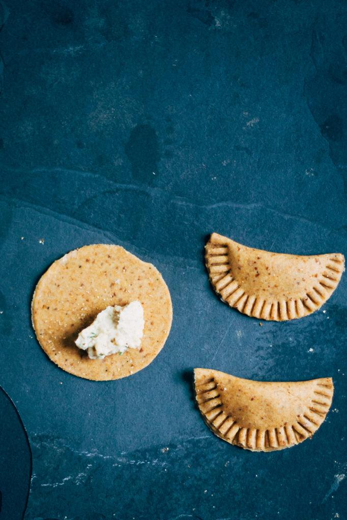 Rosemary Garlic Cannellini Agnolotti w/ Mesclun Pesto | Well and Full | #vegan #plantbased #recipe