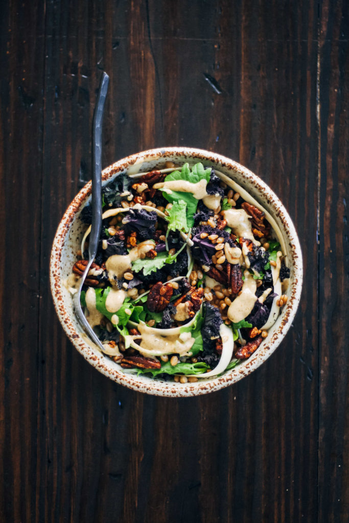 Warm Autumn Salad w/ Shaved Parsnips + Pecans | Well and Full