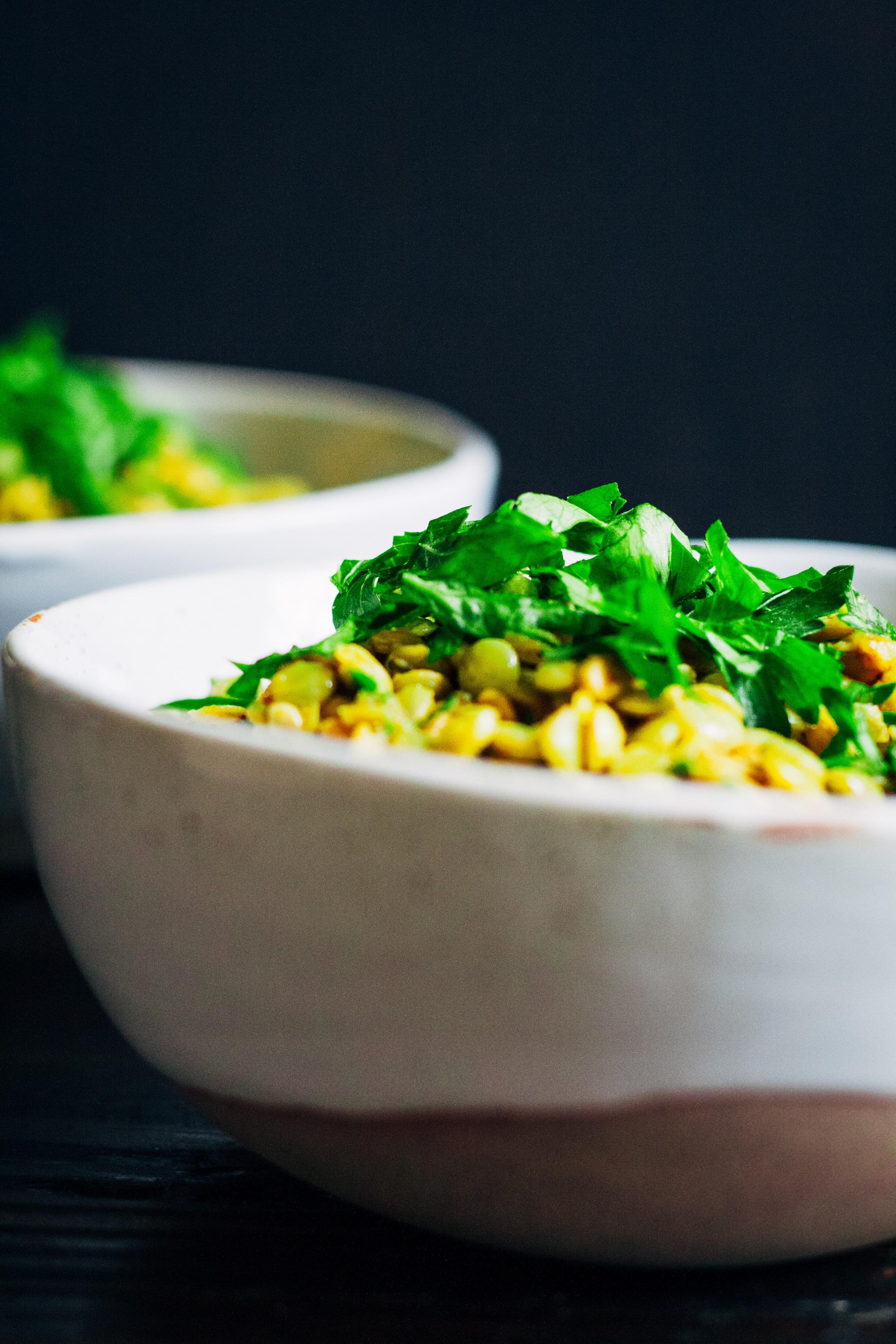 Green Lentil Salad | Well and Full | #vegan #recipe