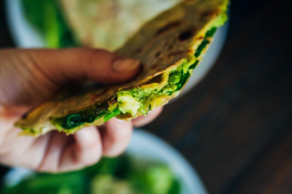 Green Goddess Quesadillas | Well and Full | #vegan #glutenfree #recipe