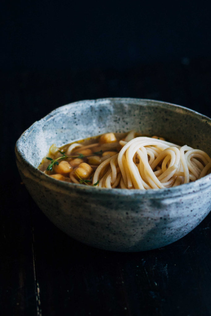 Chickpea Noodle Soup w/ Fresh Thyme | Well and Full | #vegan #soup #recipe