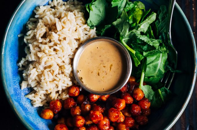 Barbecue Chickpea Rice Bowl | Well and Full | #vegan #buddha #bowl #recipe