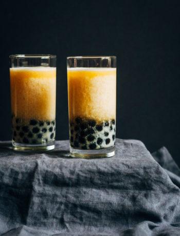 Peach Bubble Tea | Well and Full | #vegan #bubble #tea #recipe