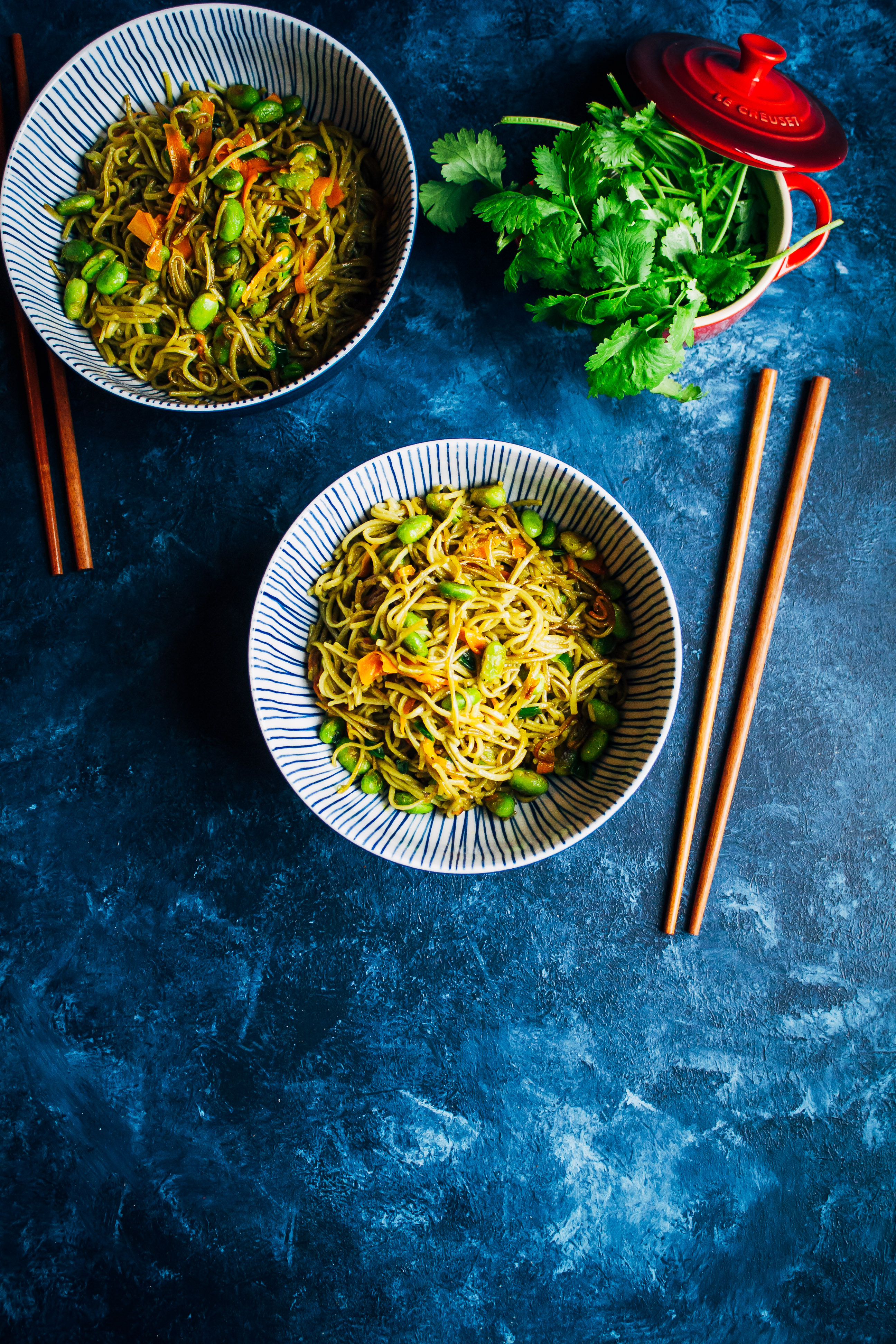 Spicy Green Tea Noodles + Le Creuset Giveaway! | Well and Full | #vegan #recipe #giveaway