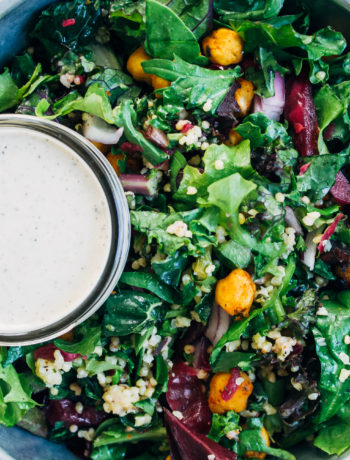 Chopped Kale + Kraut Salad w/ Millet + Sunflower Ranch Dressing | Well and Full | #vegan #recipe