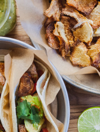 Street Tacos w/ Jicama Chips + Salsa Roja and Verde | Well and Full | #vegan #recipe