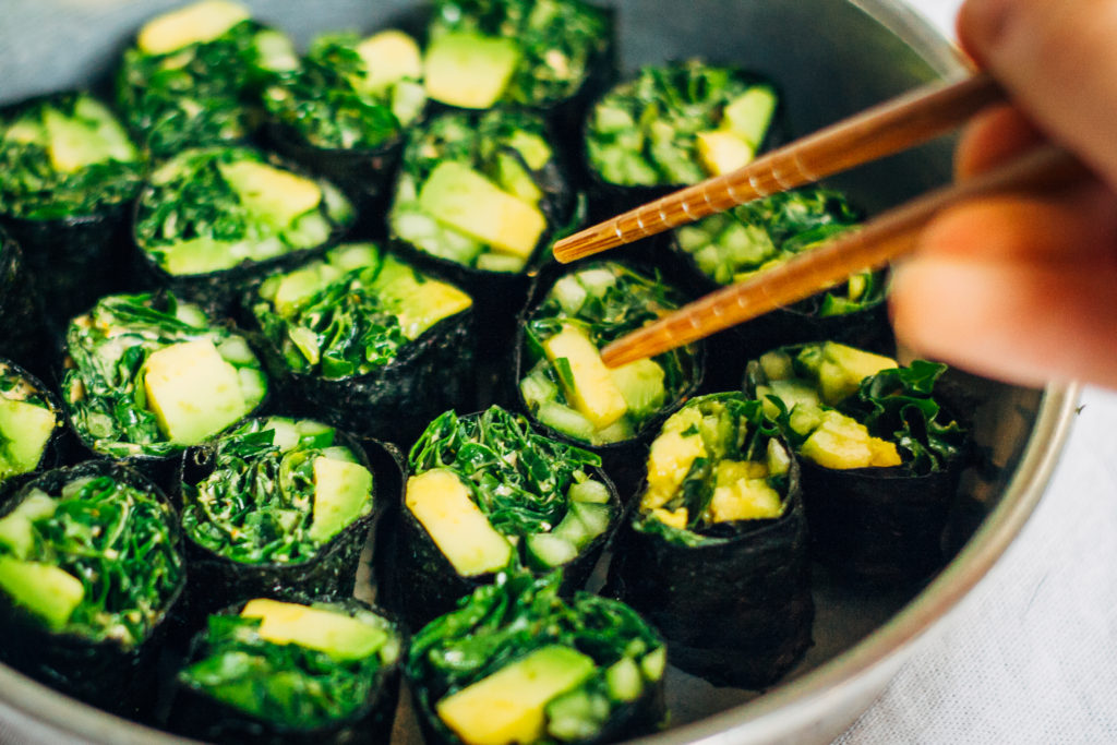 Cleansing Sushi Roll w/ Spicy Kale + Green Veggies | Well and Full | #vegan #recipe