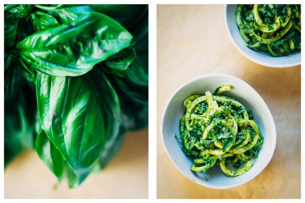 Zucchini Noodles w/ Simple Basil Pesto | Well and Full | #vegan #recipe