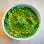 Summer Garlic Scape Pesto | Well and Full | #vegan #recipe