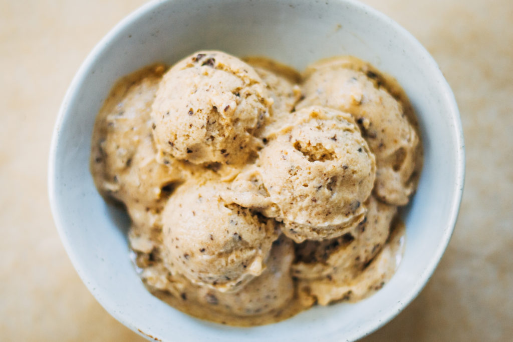 Mocha Chip Banana Ice Cream | Well and Full | #vegan #recipe