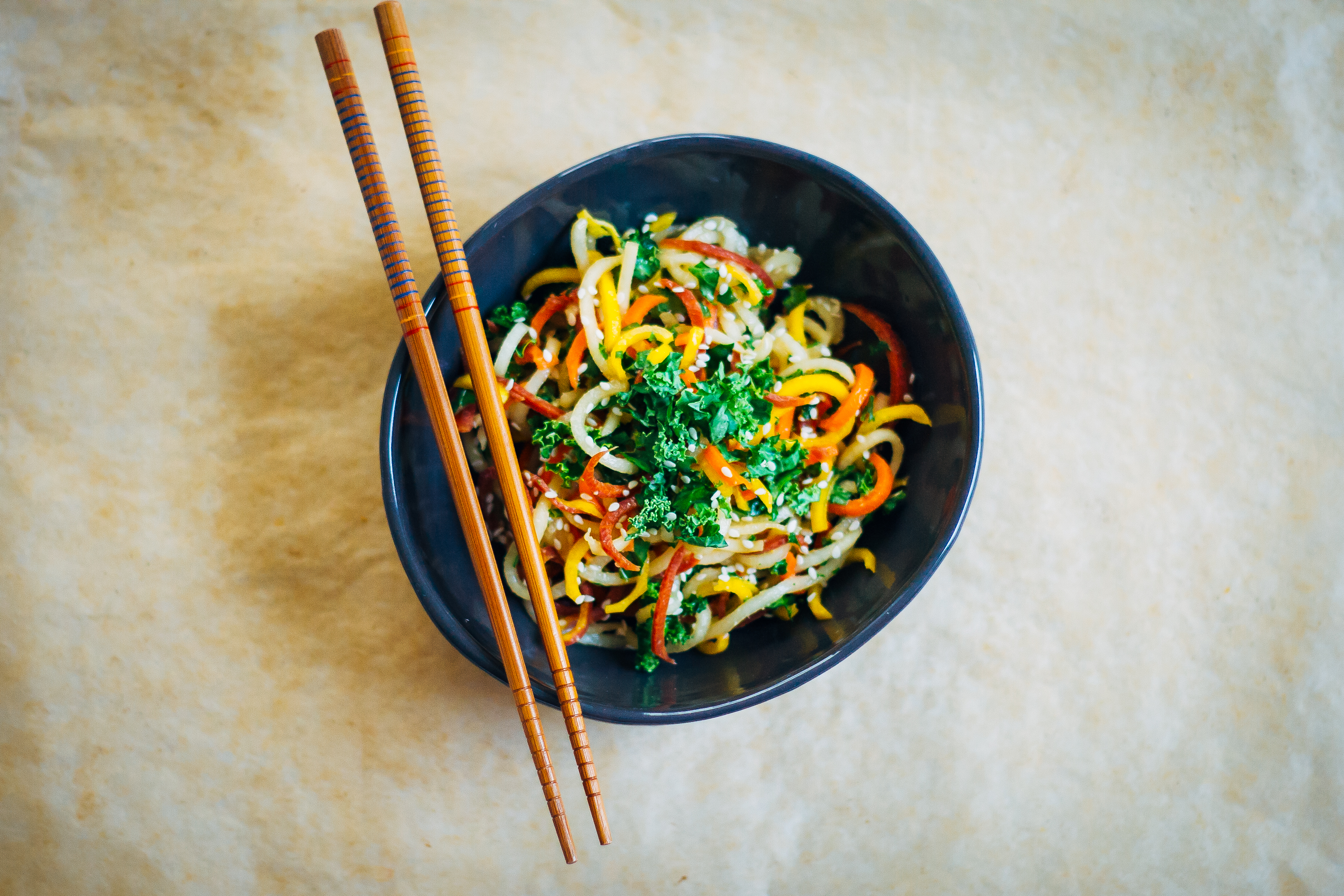 Raw Noodle Bowl w/ Miso Tahini Dressing | Well and Full | #vegan #plantbased #recipe