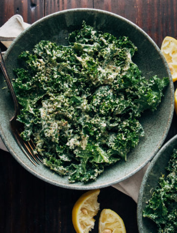 Vegan Kale Caesar Salad | Well and Full | #healthy #vegan #recipe