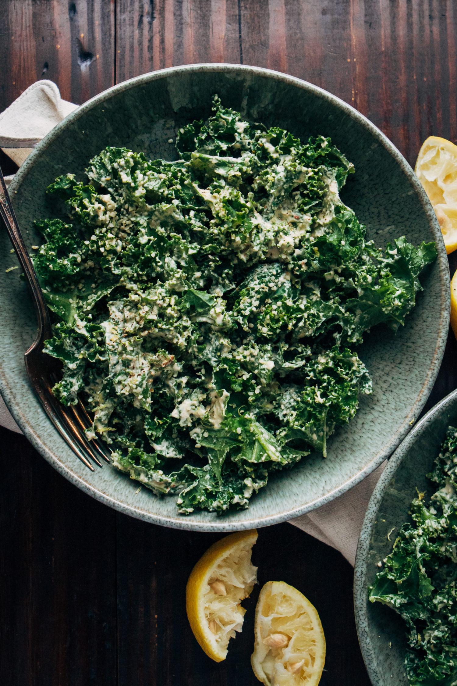 Vegan Kale Caesar Salad | Well and Full | #healthy #vegan #recipe
