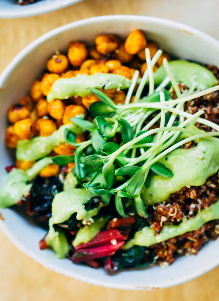 Quinoa Nourish Bowl w/ The Best Avocado Dressing | Well and Full | #vegan #plantbased #recipe