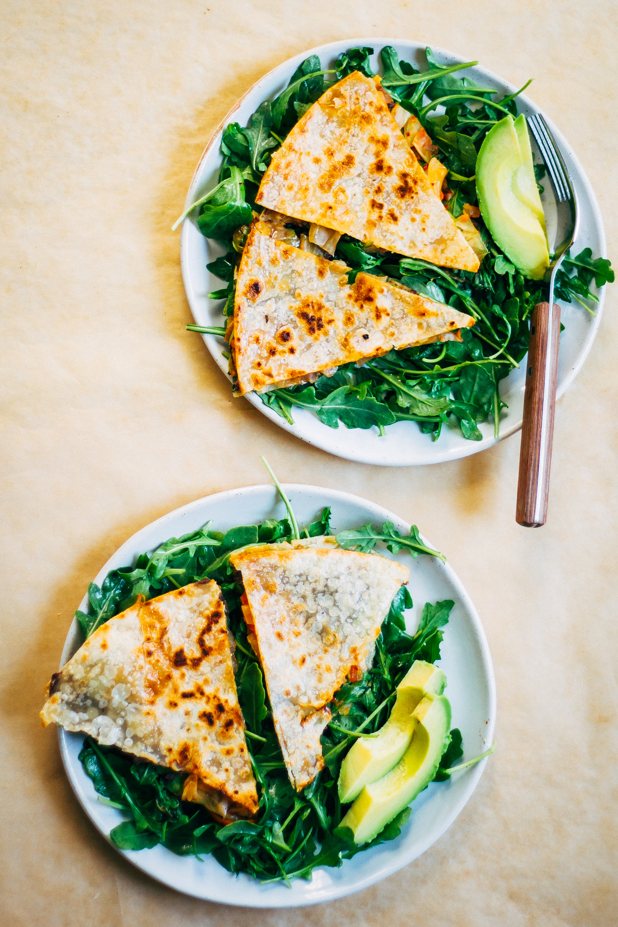 Kimchi Quesadillas | Well and Full | #vegan #plantbased #recipe