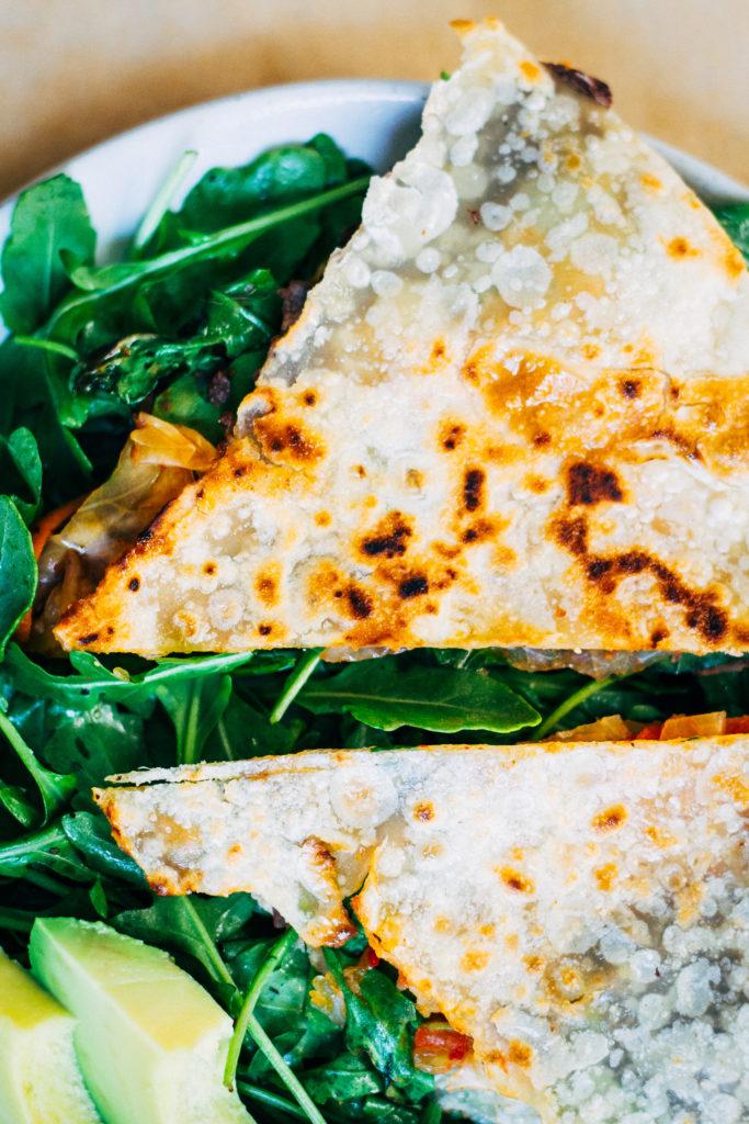 Kimchi Quesadillas | Well and Full | #vegan #plantbased #recipe
