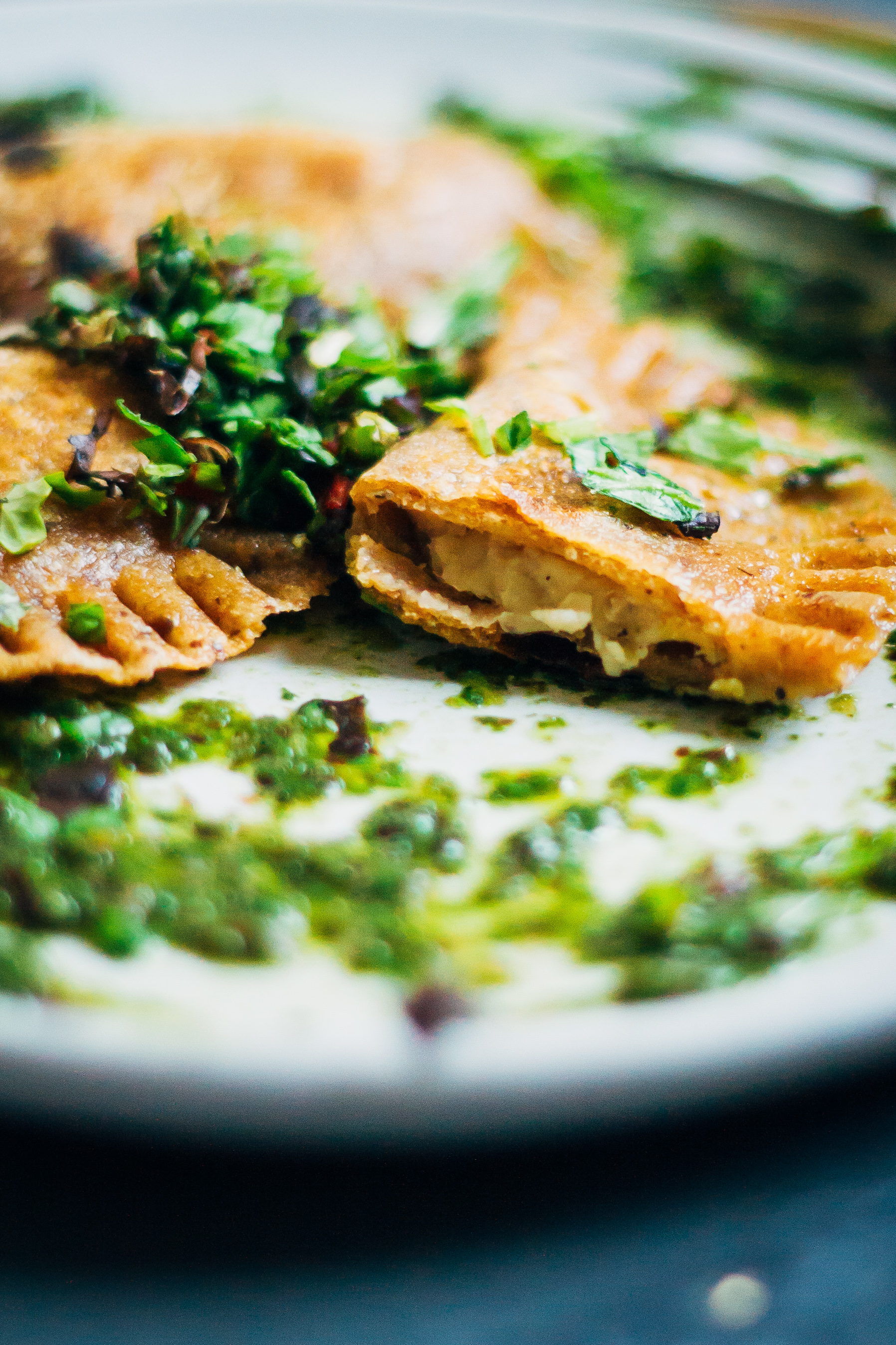 Rosemary Garlic Ravioli w/ Mesclun Pesto | Well and Full | #vegan #plantbased #recipe
