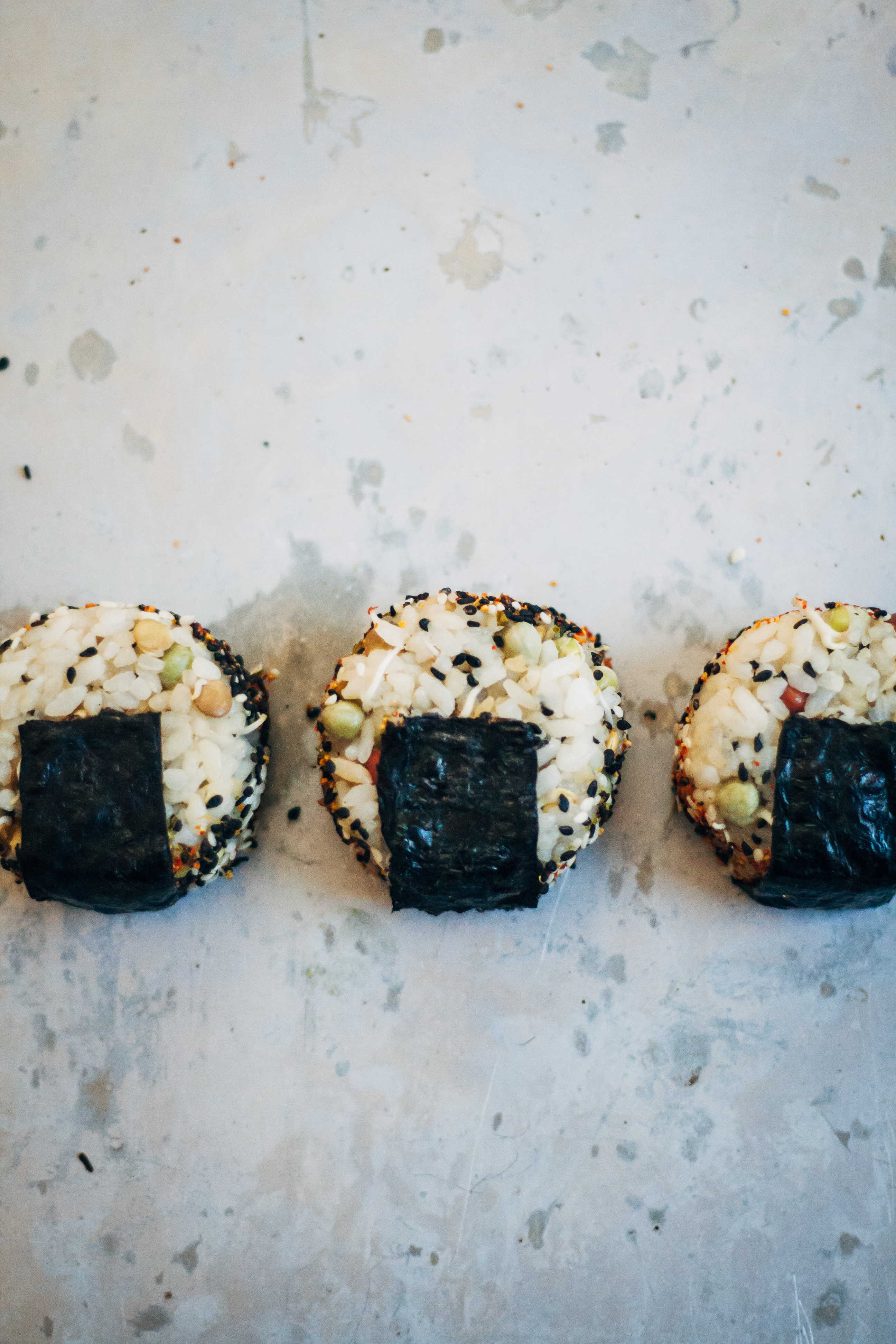 Onigiri w/ Ponzu-Marinated Avocado + Shichimi Togarashi | Well and Full | #plantbased #recipe