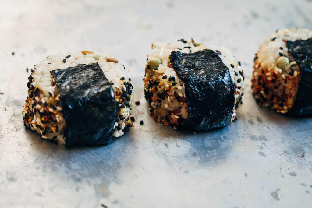 Onigiri w/ Ponzu-Marinated Avocado + Shichimi Togarashi | Well and Full | #plantbased #recipe