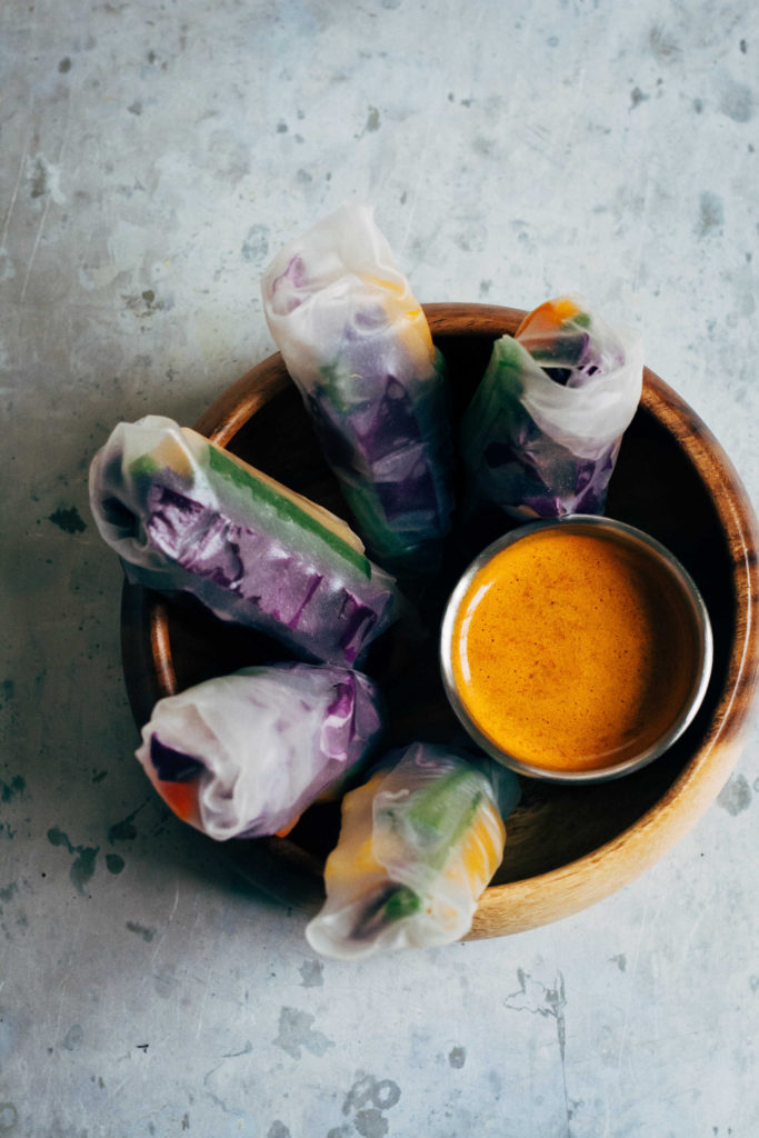 Rainbow Spring Rolls w/ Spicy Sesame Sauce | Well and Full | #vegan #recipe
