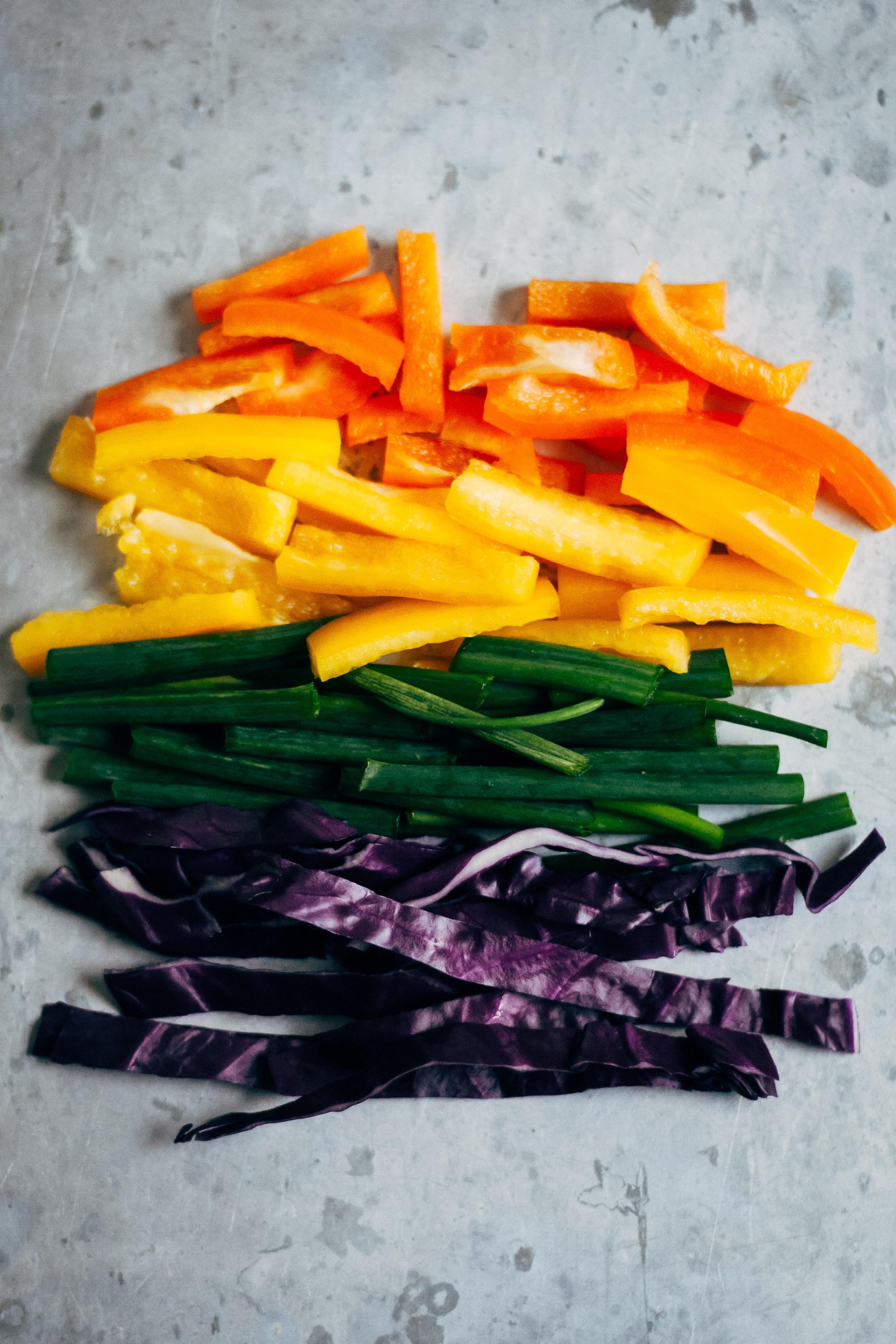 Rainbow Spring Rolls w/ Spicy Sesame Sauce   Well and Full   #vegan #recipe