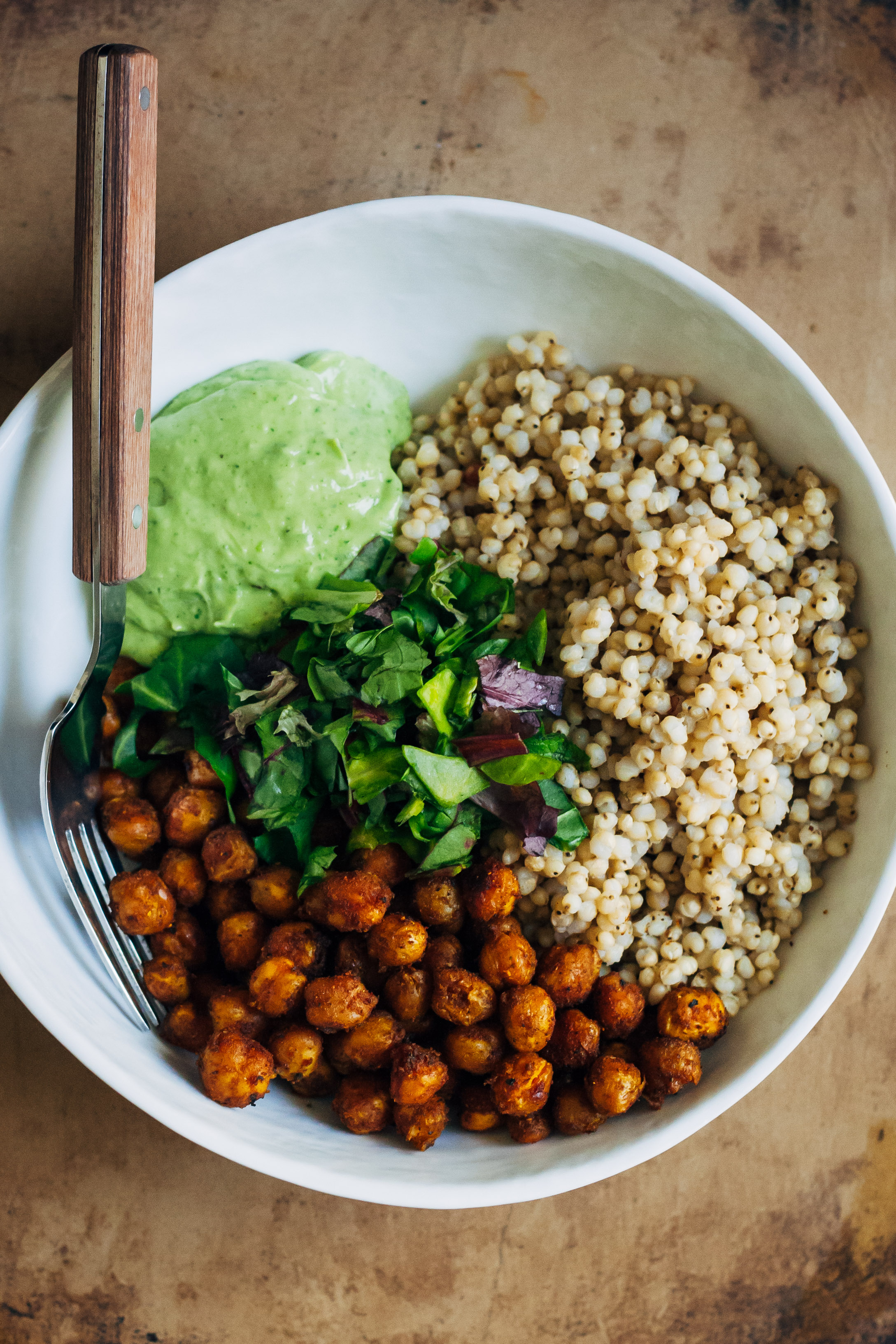 Vegan Buddha Bowl w/ Sorghum + Curry Chickpeas + Avocado Vinaigrette | Well and Full | #vegan #recipe