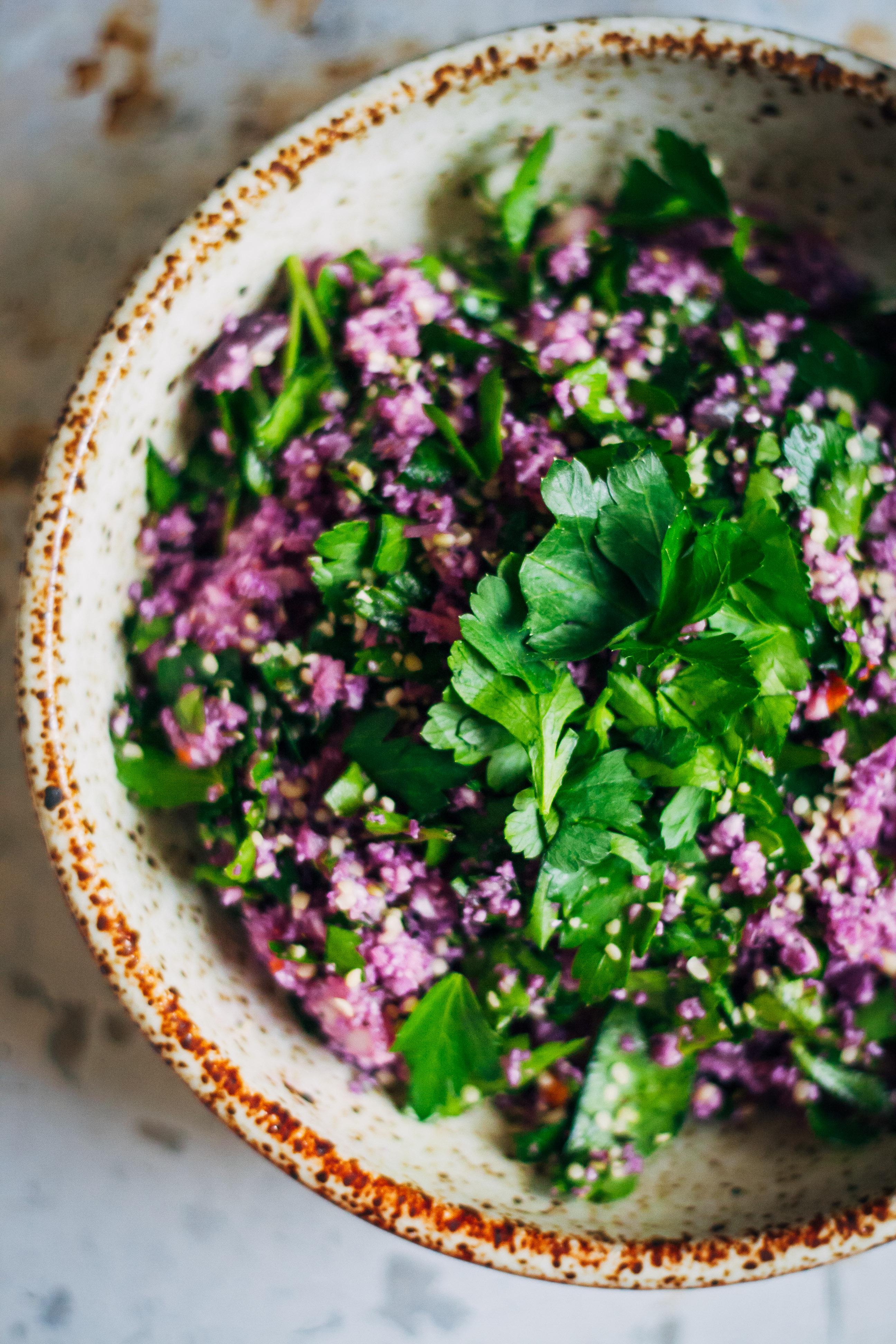 Purple Cauliflower Tabbouleh   Well and Full   #raw #vegan #recipe