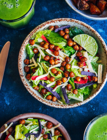 Crunchy Vegan Chipotle Salad | Well and Full | #vegan #chipotle #recipe