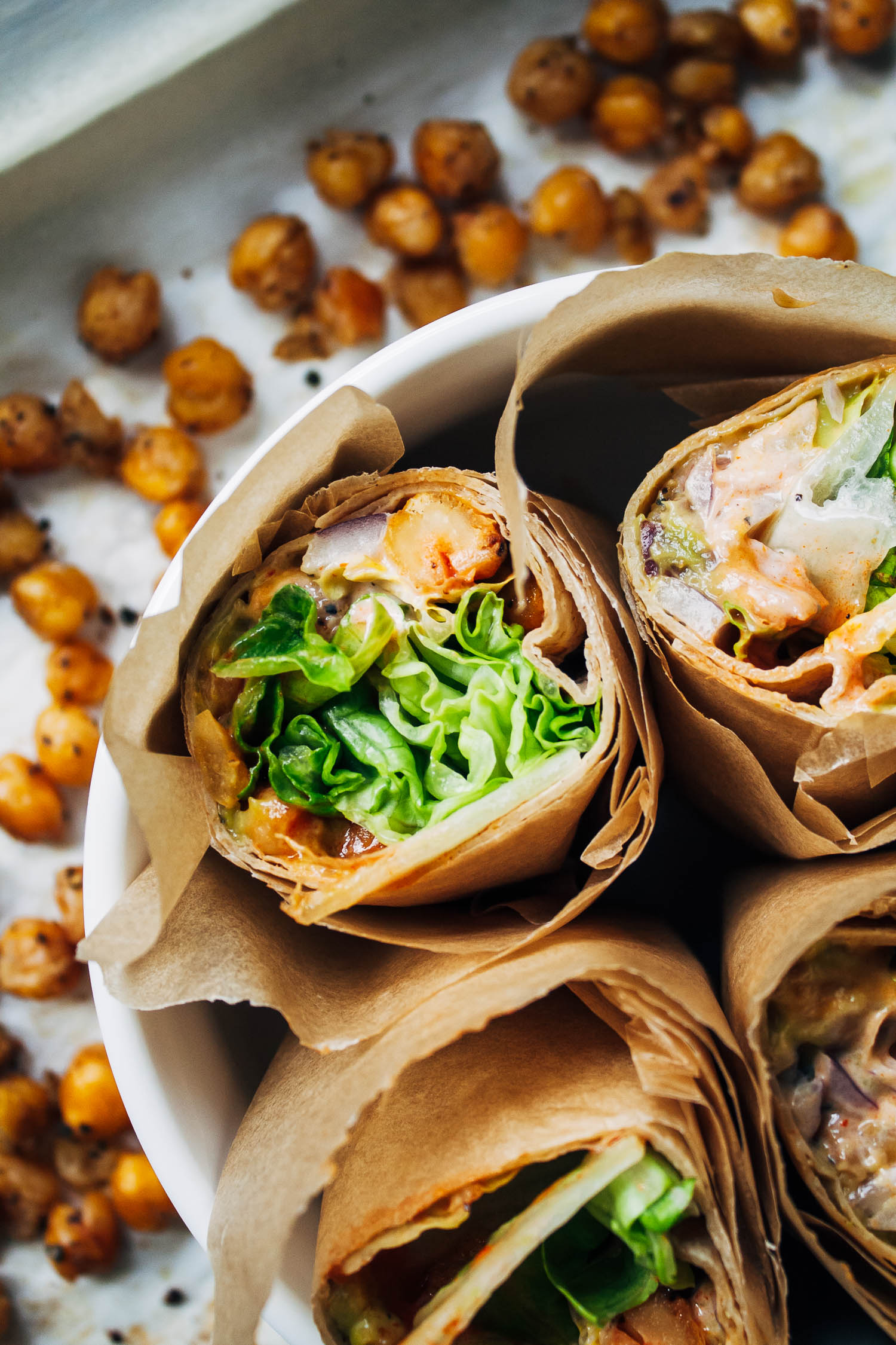 Buffalo Chickpea Wraps | Well and Full | #vegan #lunch #recipe