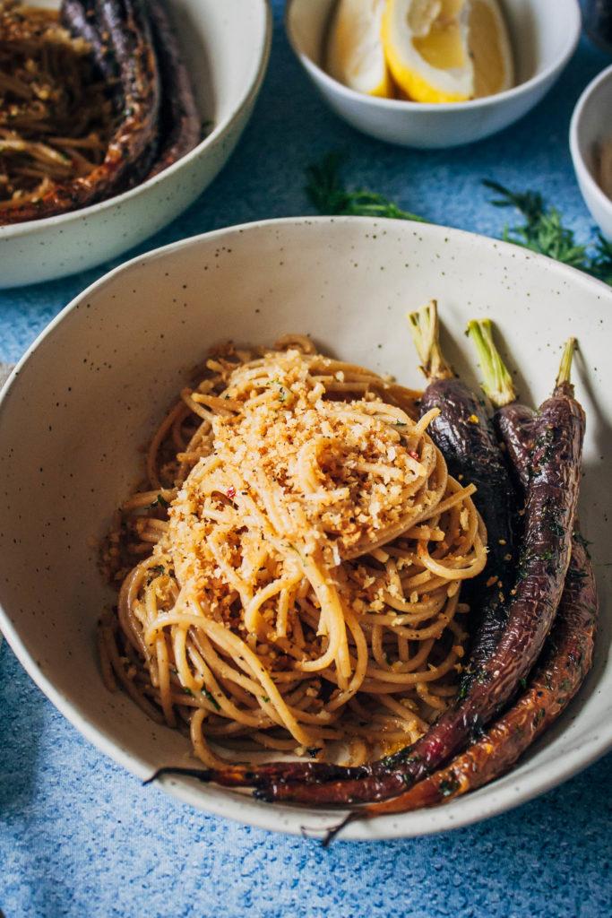 Roasted Heirloom Carrots w/ Black Pepper Pasta | Well and Full | #vegan #recipe