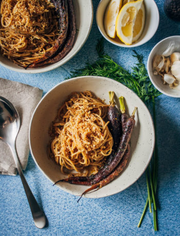 Roasted Heirloom Carrots w/ Black Pepper Pasta | Well and Full | #vegan #recipe