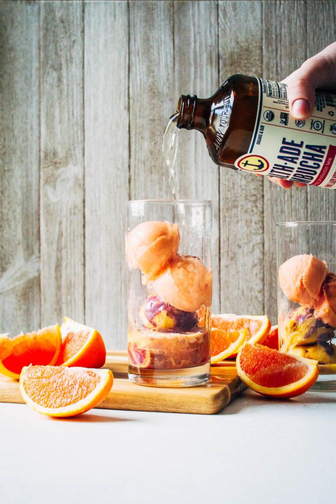 Kombucha Mimosa Floats   Well and Full   #healthy #vegan #recipe