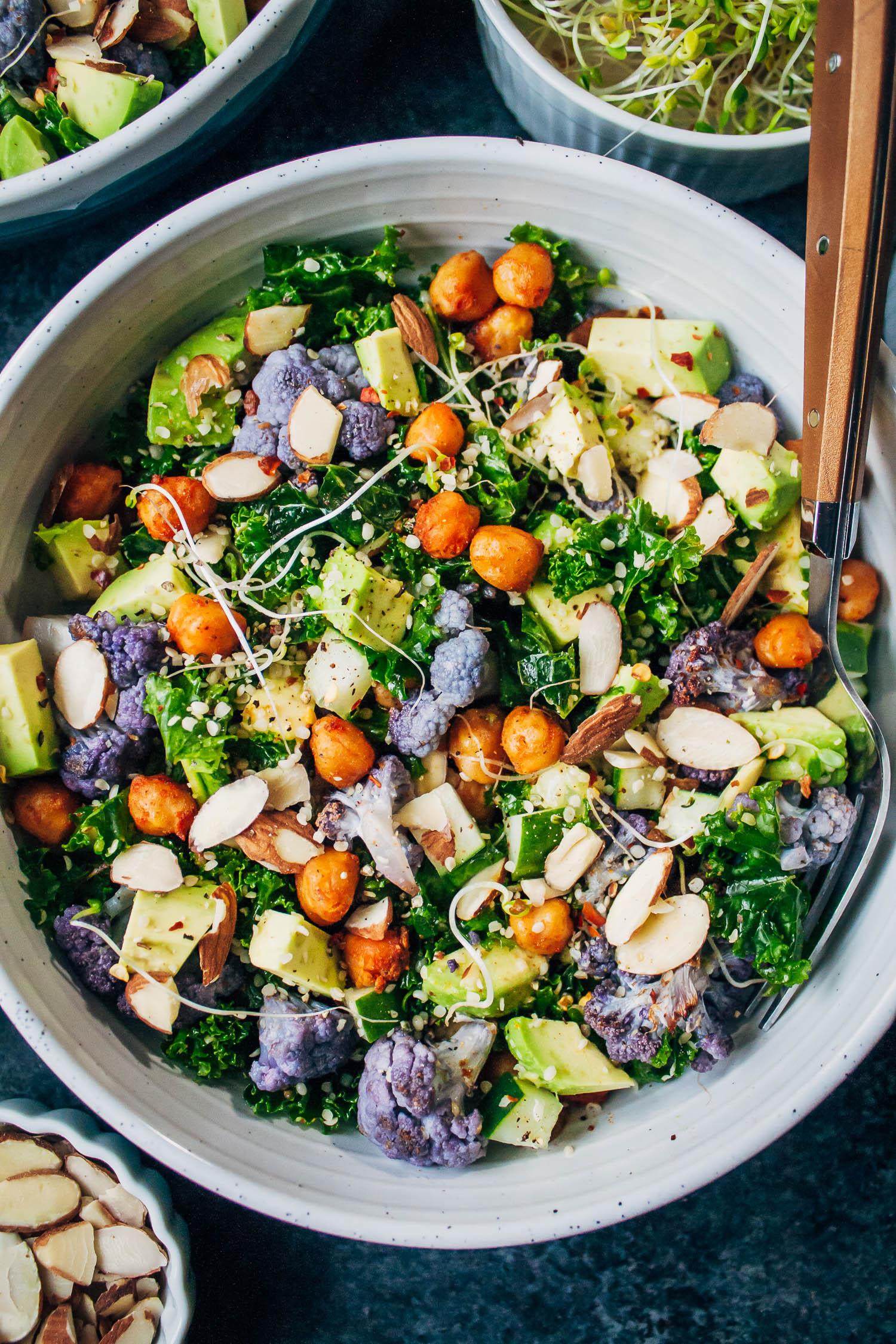 Vegan Kale Chopped Salad   Well and Full   #vegan #salad #recipe