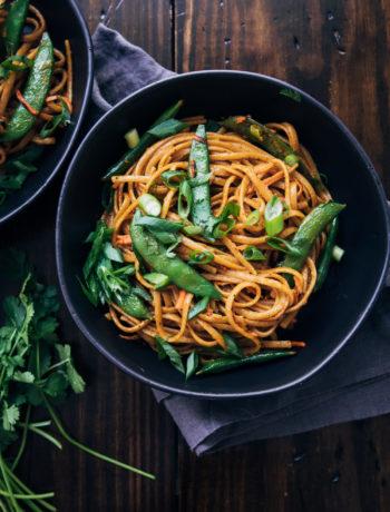 Spicy Vegan Pad Thai | Well and Full | #healthy #vegan #plantbased