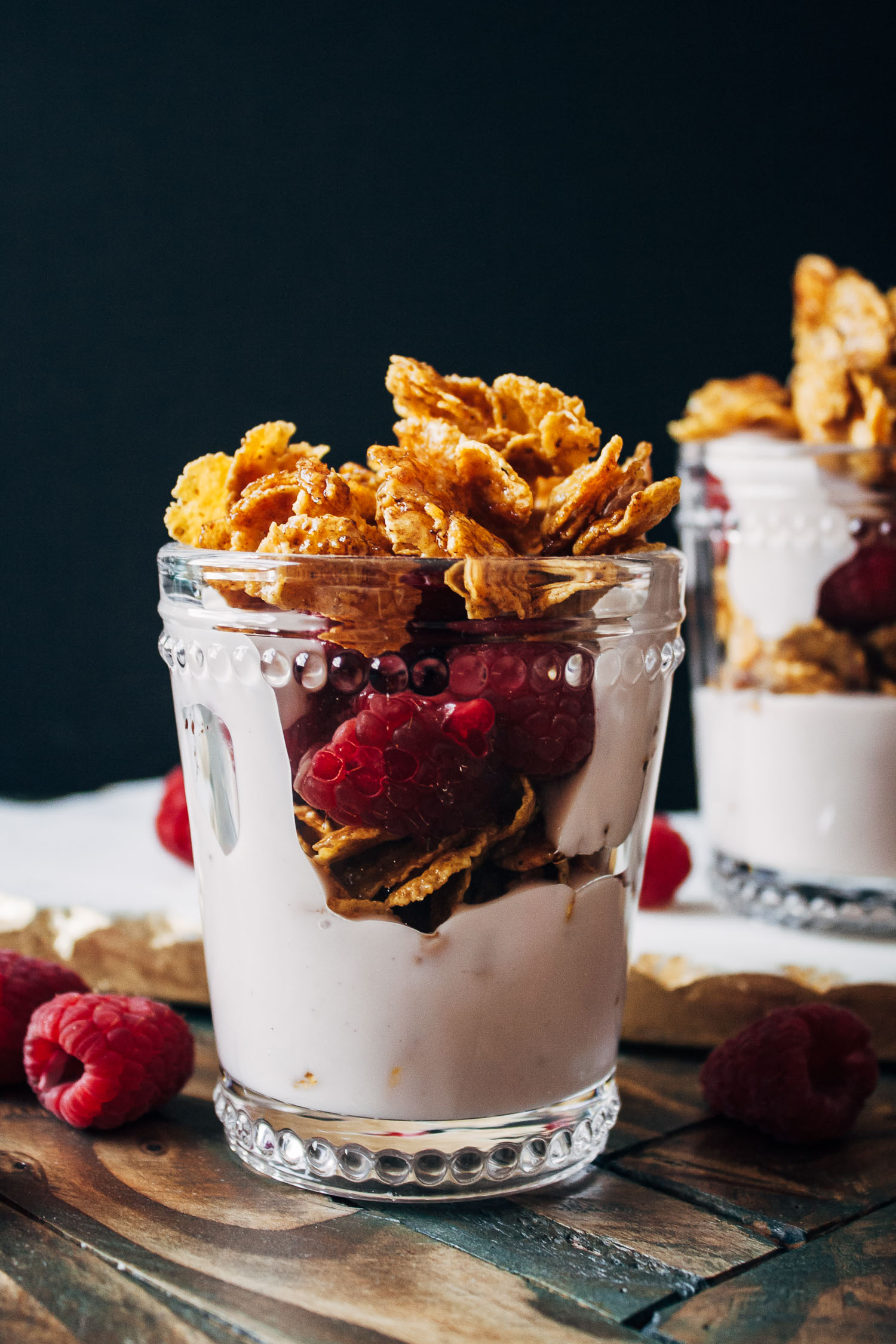 Maple Syrup Cereal Brittle Parfaits | Well and Full | #vegan #recipe