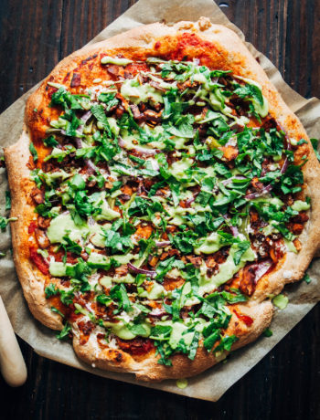 Vegan Bacon Ranch Pizza | Well and Full | #healthy #vegan #recipe