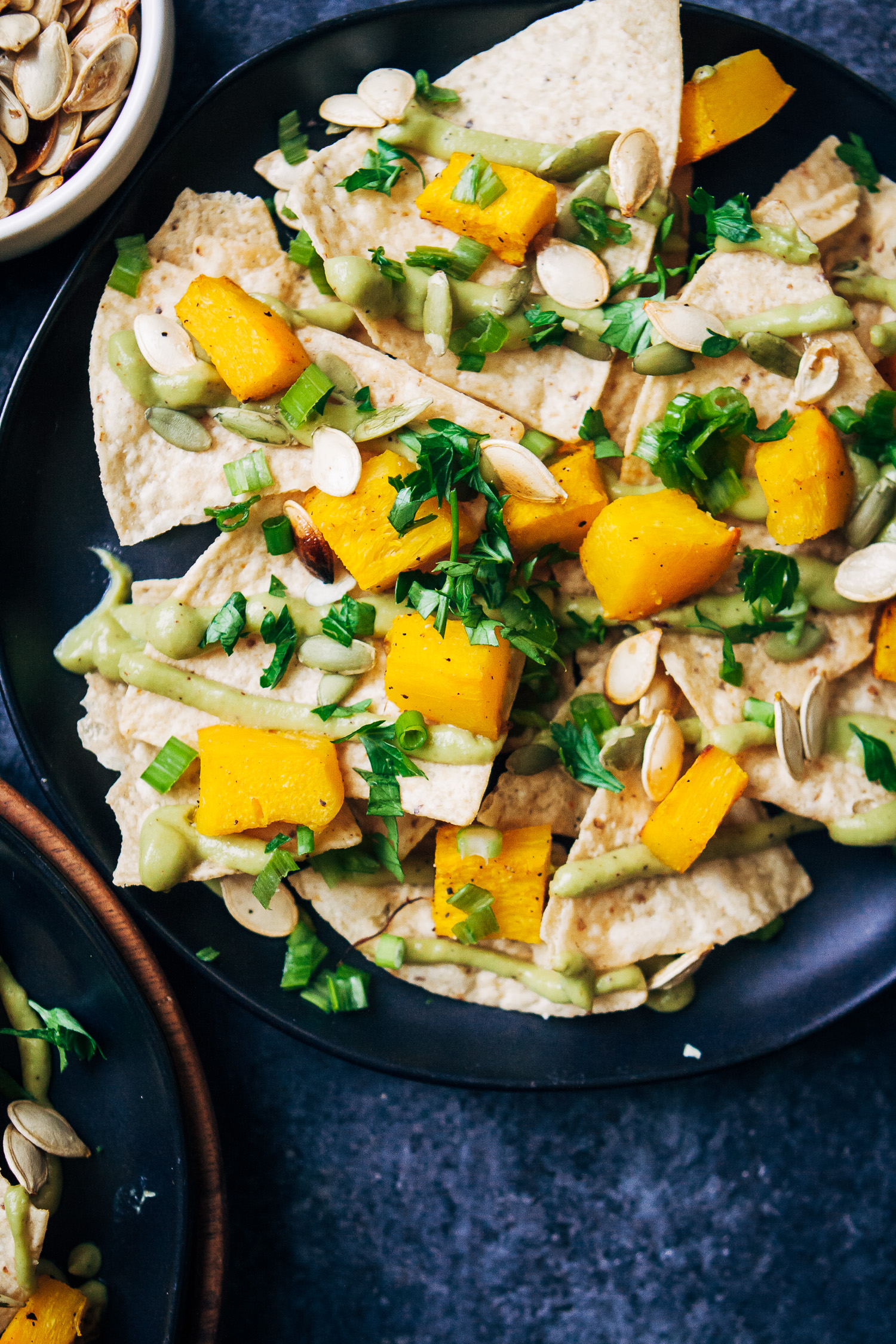 Vegan Pumpkin Nachos w/ Avocado Queso | Well and Full | #healthy #plantbased #fall #recipe
