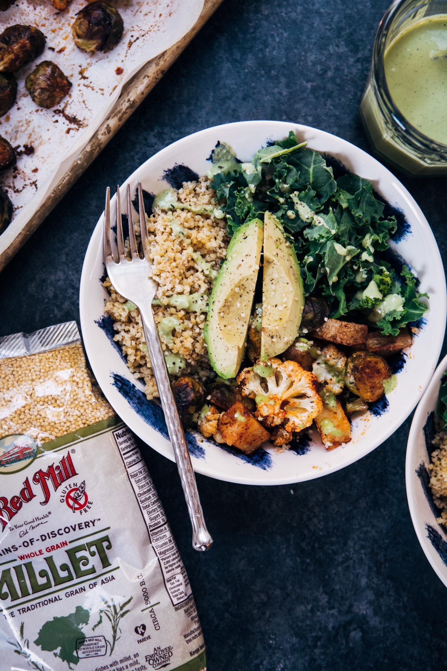 Vegan Millet Bowl w/ Jalapeño Tahini | Well and Full | #healthy #vegan #recipe