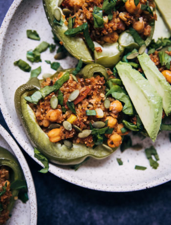 Vegan Stuffed Peppers | Well and Full | #plantbased #recipe