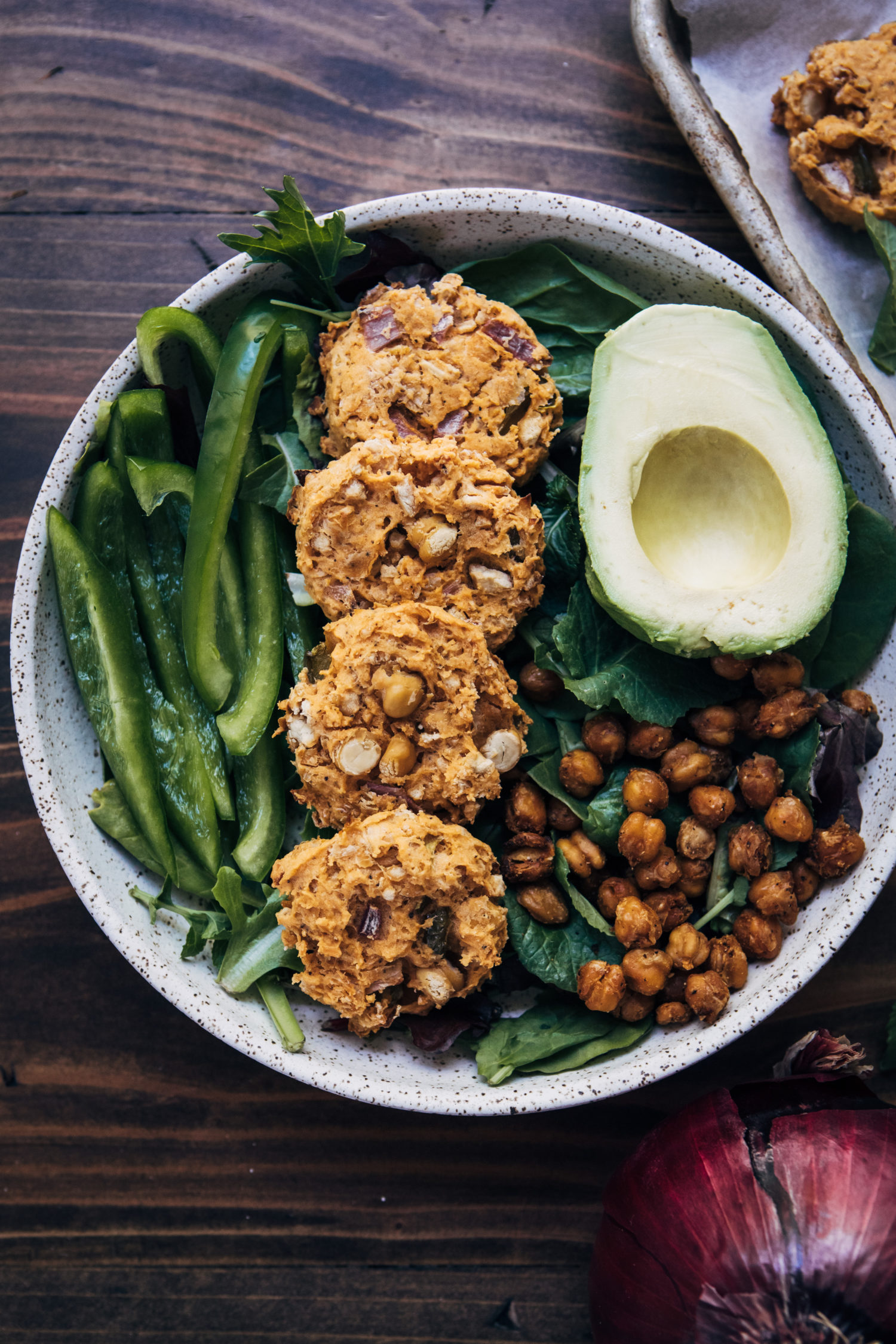 Vegan Buffalo Chickpea Fritters | Well and Full | #vegan #recipe