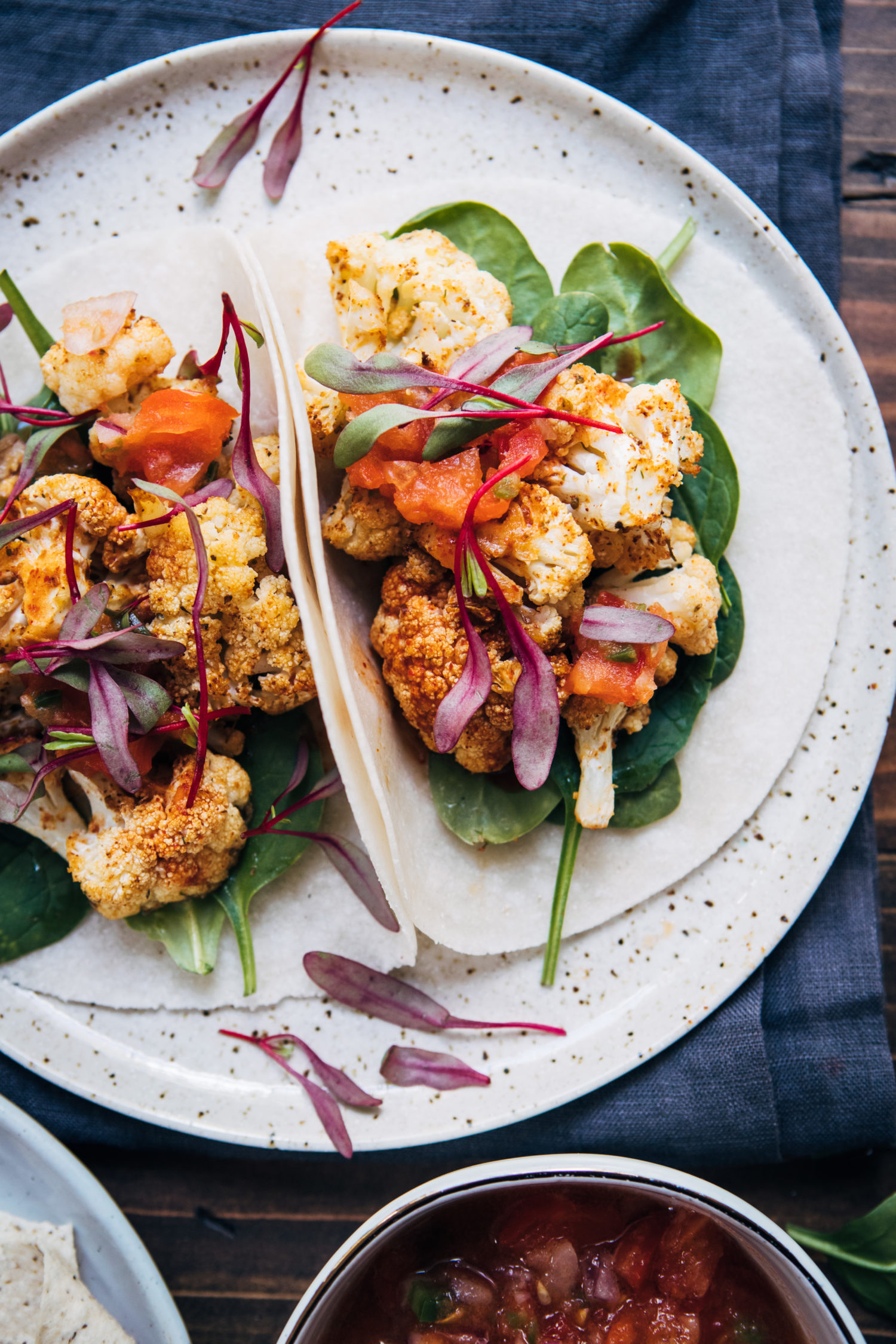 Spicy Vegan Cauliflower Tacos | Well and Full | #vegan #recipe