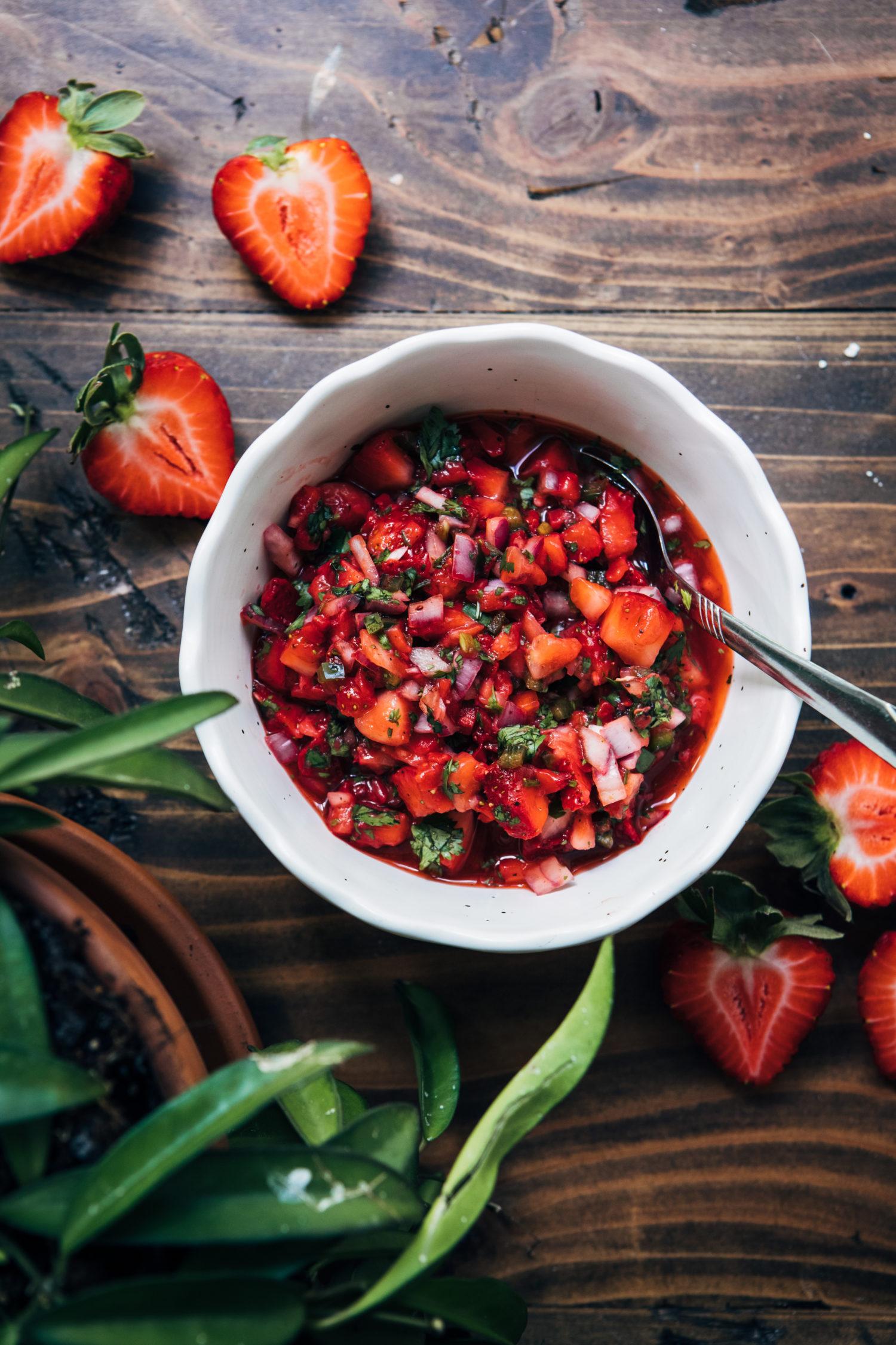 Summer Strawberry Salsa | Well and Full | #vegan #summer #recipe