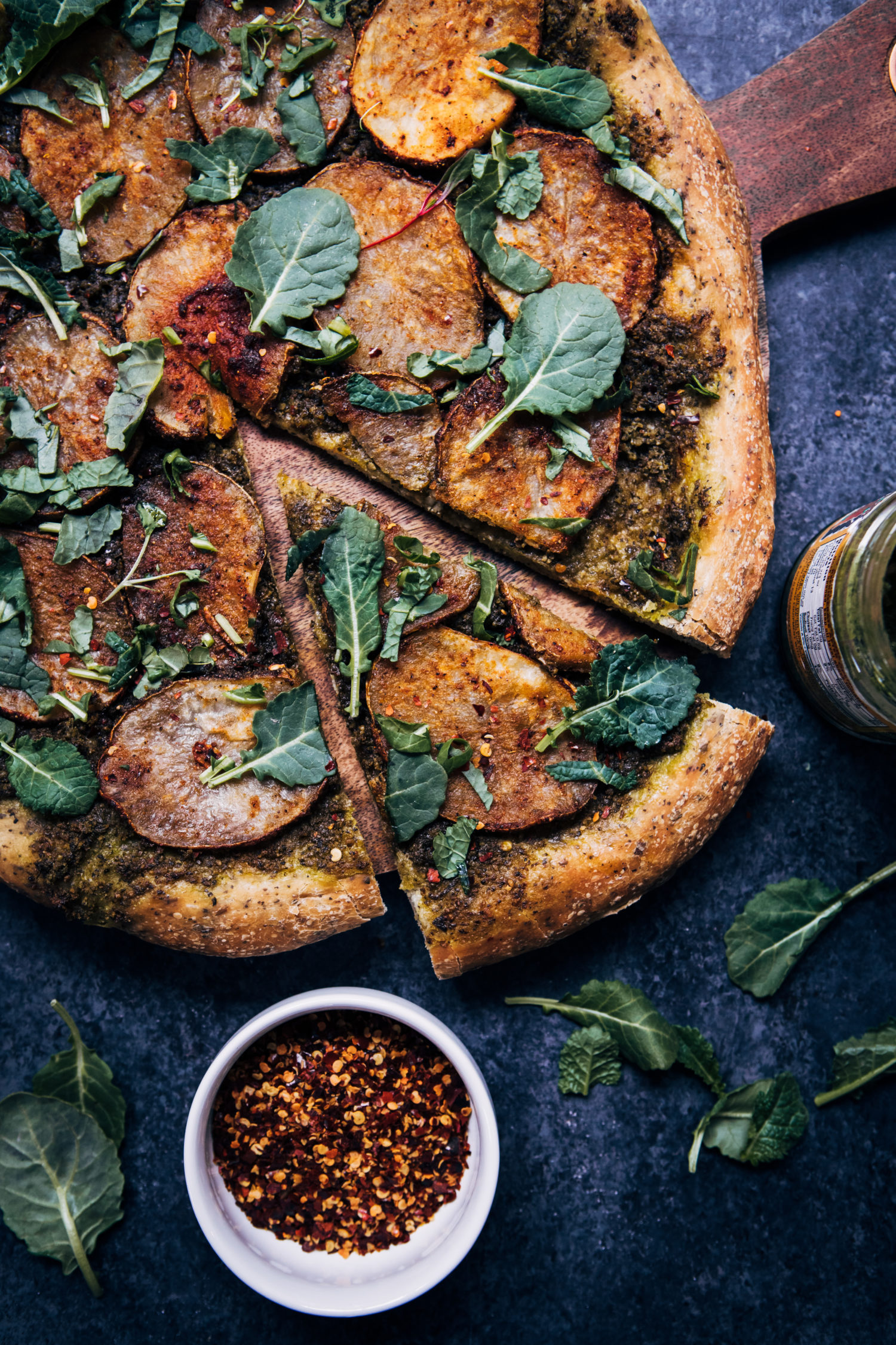 Vegan Potato Pesto Pizza | Well and Full | #vegan #recipe #pizza