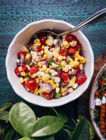 Summer Corn Pico de Gallo | Well and Full | #vegan #summer #recipe