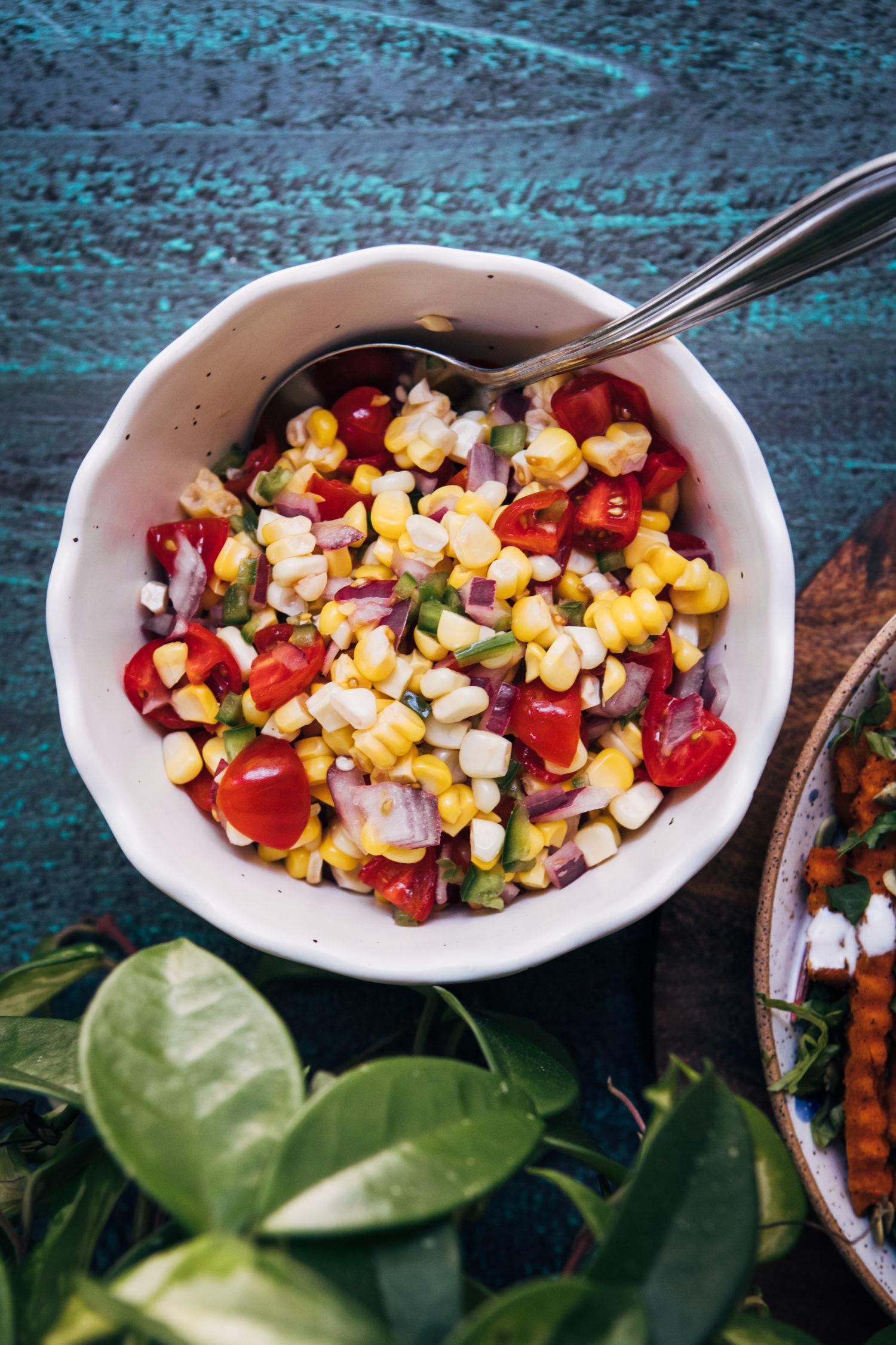 Summer Corn Pico de Gallo | Well and Full | #vegan #summer #recipe