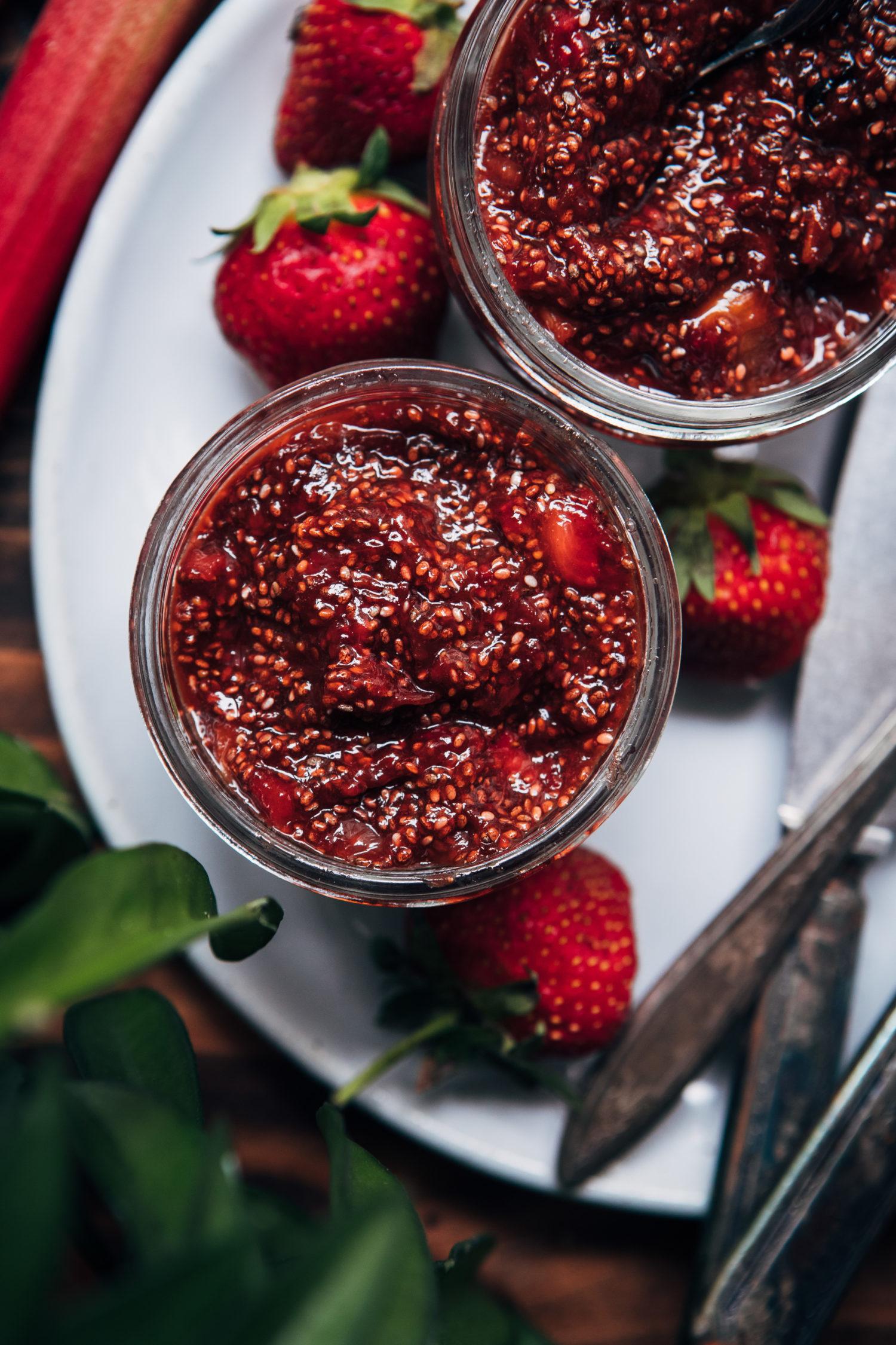 Strawberry Rhubarb Chia Jam   Well and Full   #jam #summer #recipe